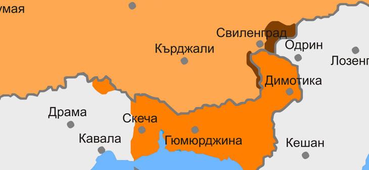 карта на Беломорска Тракия