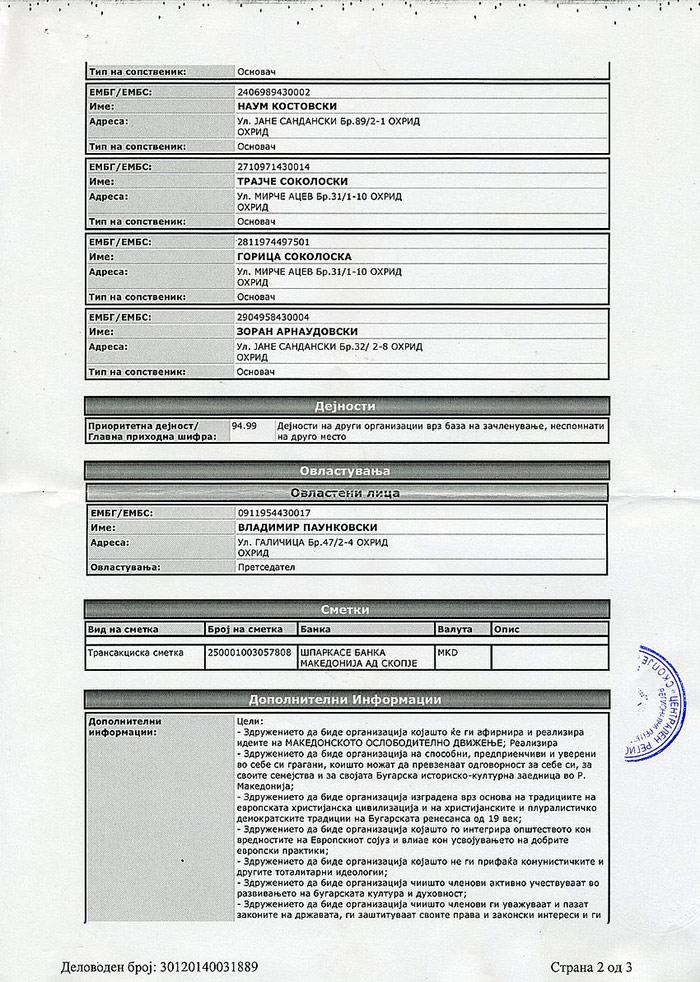 Решение за регистрация на Асоциация Радко