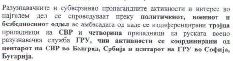 Действията на руското разузнаване са се провеждали от тяхното посолство в Скопие от трима агенти на руската Служба за Външно Разузнаване под надзора на щаб в Белград и четирима агенти на военното Главно Разузнавателно Управление, координирани от София.